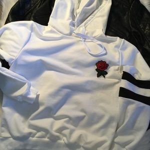 Tops - WHITE HOODIE W/ EMBROIDERED FLOWER & STRIPED ARMS